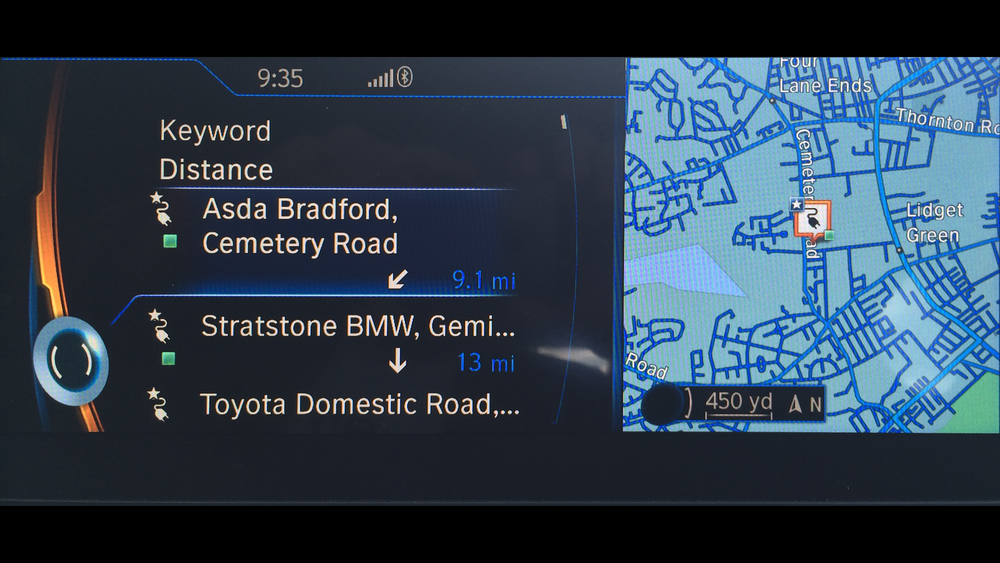 BMW i3 - Satnav showing charging point