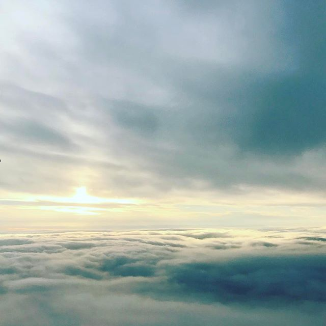 Between the cloud layers before landing at Dublin airport.