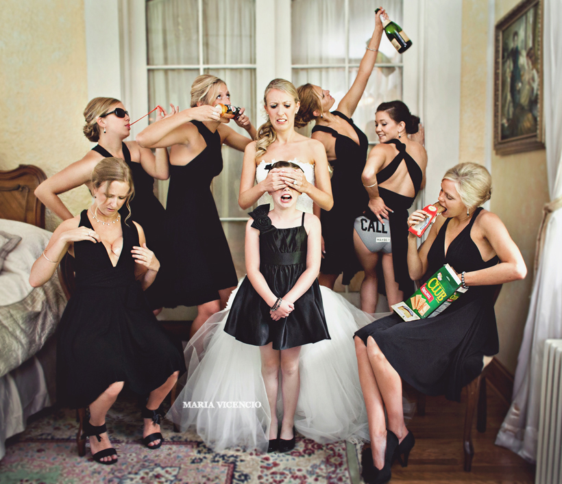 Silly bridal party and bridesmaids, Don't corrupt the flower girl, Photo by Maria Vicencio Photography