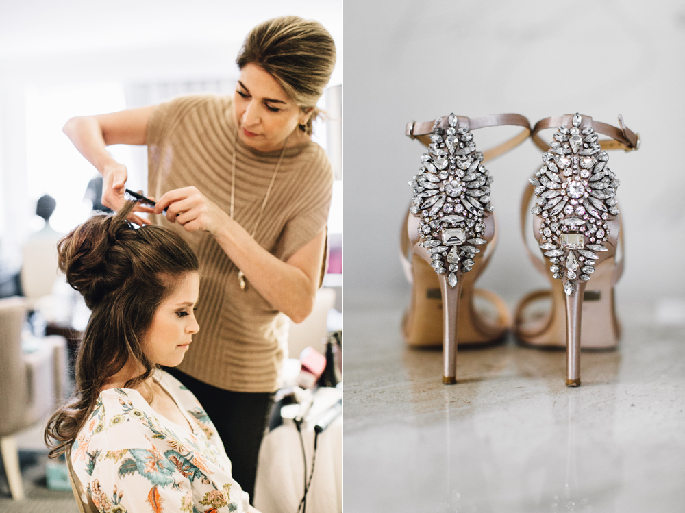 Bride getting ready with Bridal Hair by Remona and Badgely Mischka shoes - Maria Vicencio Photography Weddings