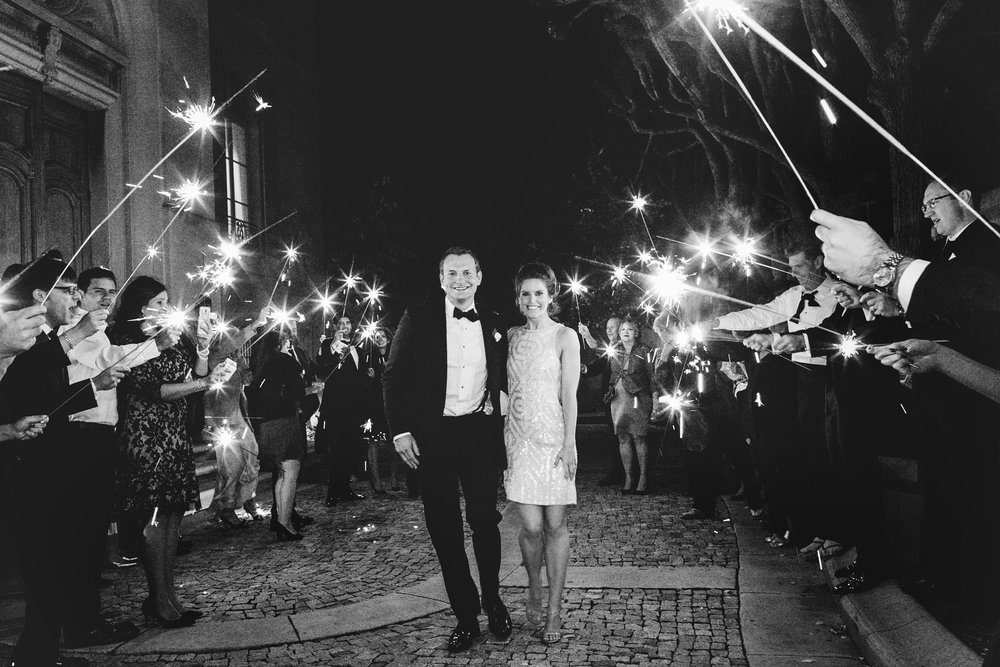 Black and white shot of sparkler exit with bride and groom at Meridian House in DC - Maria Vicencio Photography Weddings