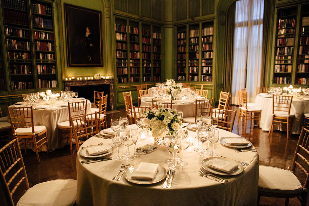 Reception details inside library at Meridian House in DC - Maria Vicencio Photography Weddings