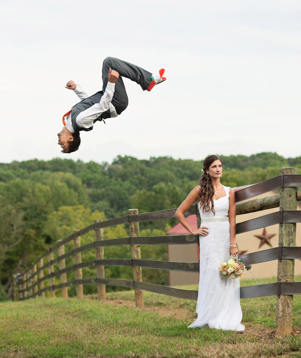 Groom flipping off fence over the bride - Maria Vicencio Photography Weddings
