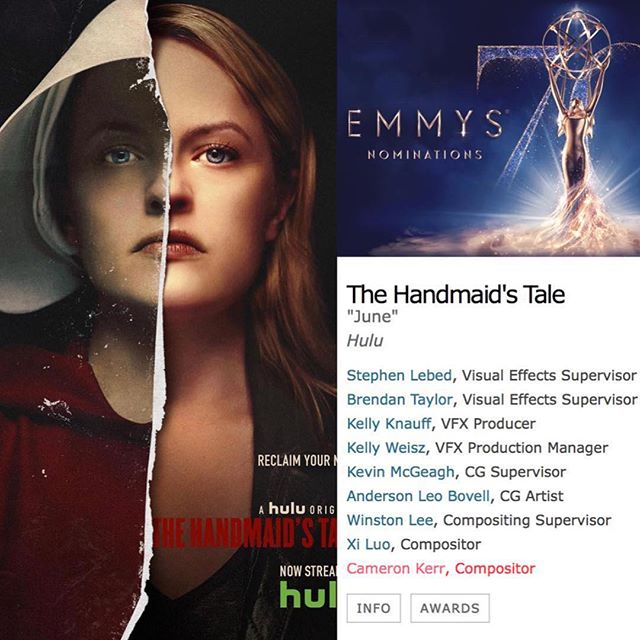 Huge congratulations to VFT alumni Cameron Kerr who was nominated for a Emmy award for Outstanding Visual Effects in a Supporting Role for his work on The Handmaid's Tale. This is Cam's second Emmy nomination since he graduated from the program in 2010.
