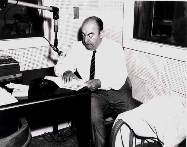 Pablo Neruda during a Library of Congress recording session, 20 June 1966 [public domain]