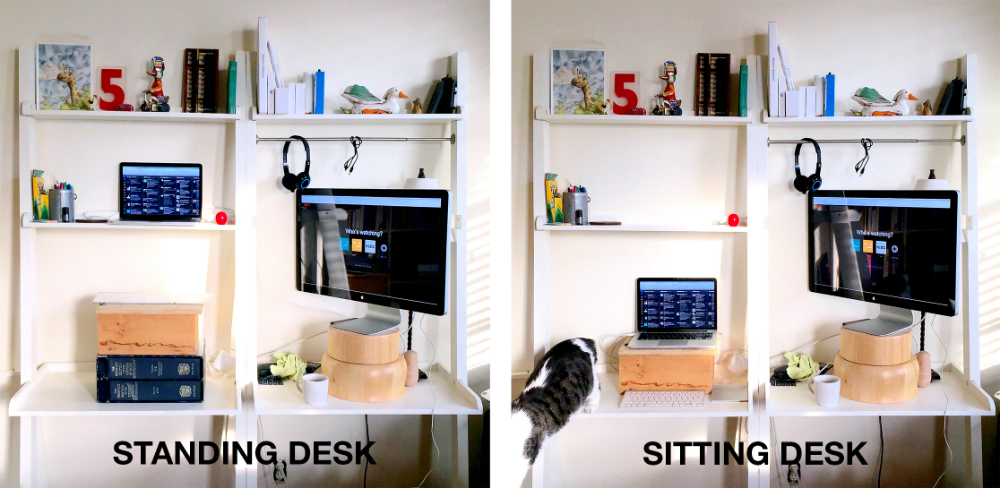 standing desk and sitting desk