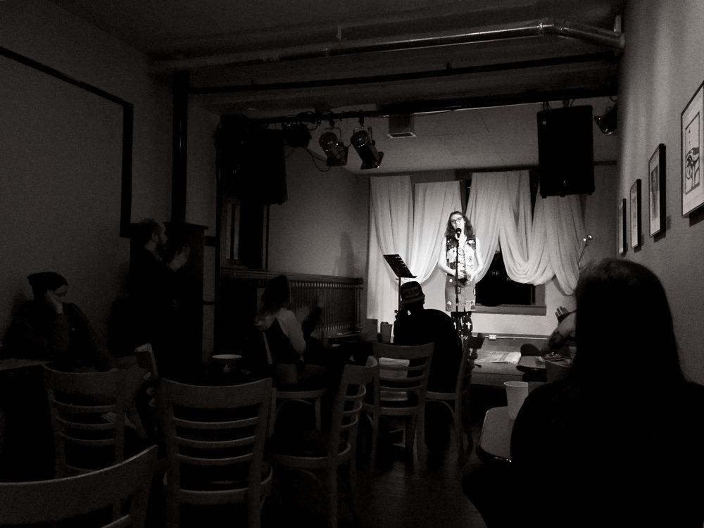 Elise Pallagi performing at  Regina Word Up