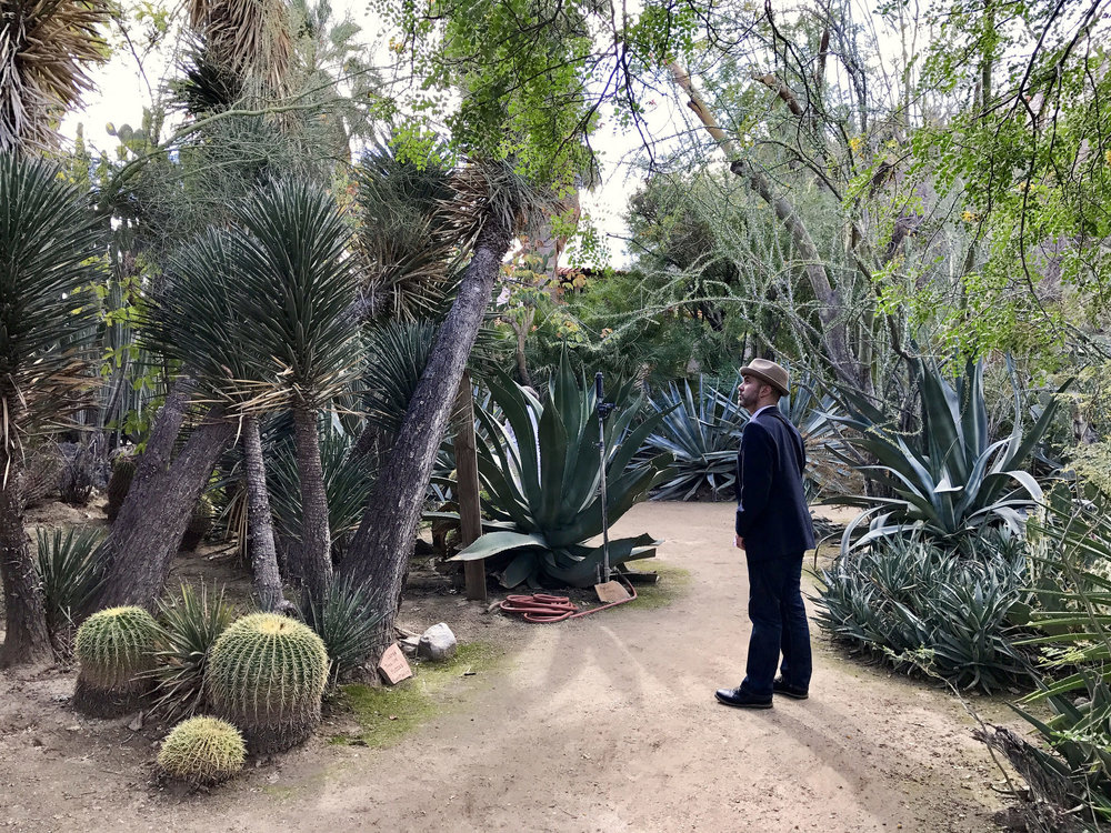 Aidan regarding cacti at Moorten Botanical Garden in Palm Springs