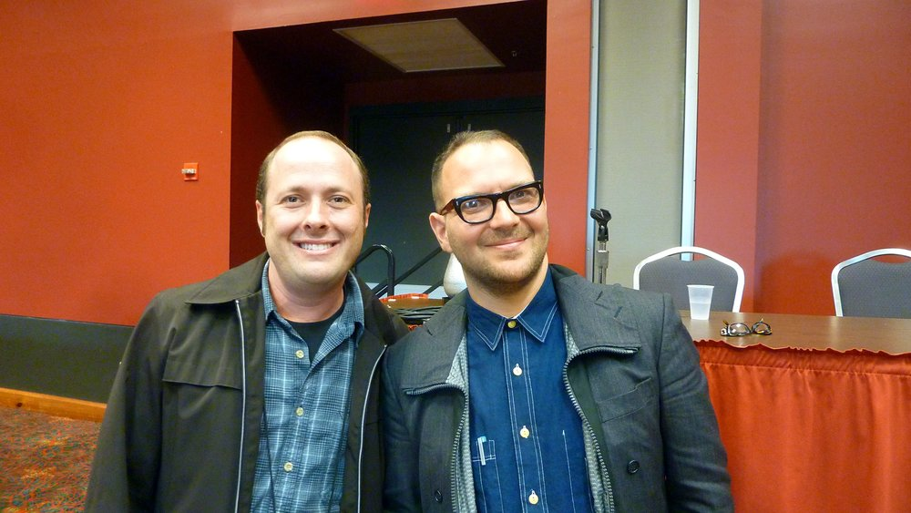 Jay Asher {left} and Cory Doctorow (right). Credit: Cory Doctorow [CC BY-SA 2.0], via Flickr.