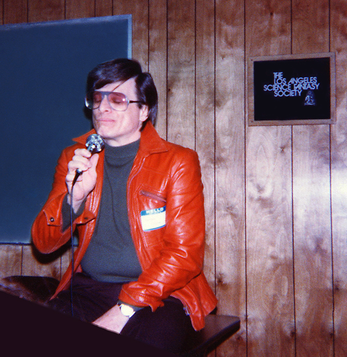 Harlan Ellison at the Los Angeles Science Fantasy Society during the LASFS Showcase,1 May 1982. Photo credit: Pip R. Lagenta [ CC BY 2.0 ],  via Flickr