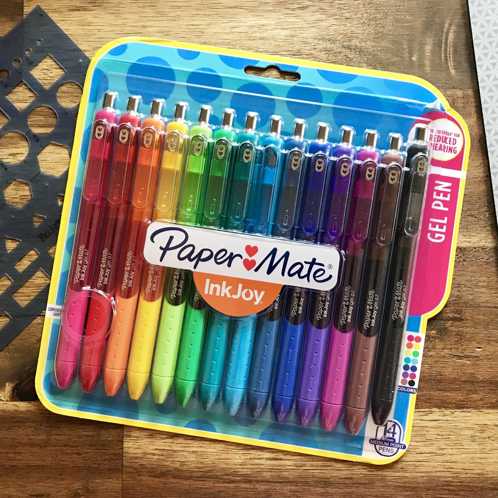 a new set of 14 Paper Mate InkJoy gel pens in the package