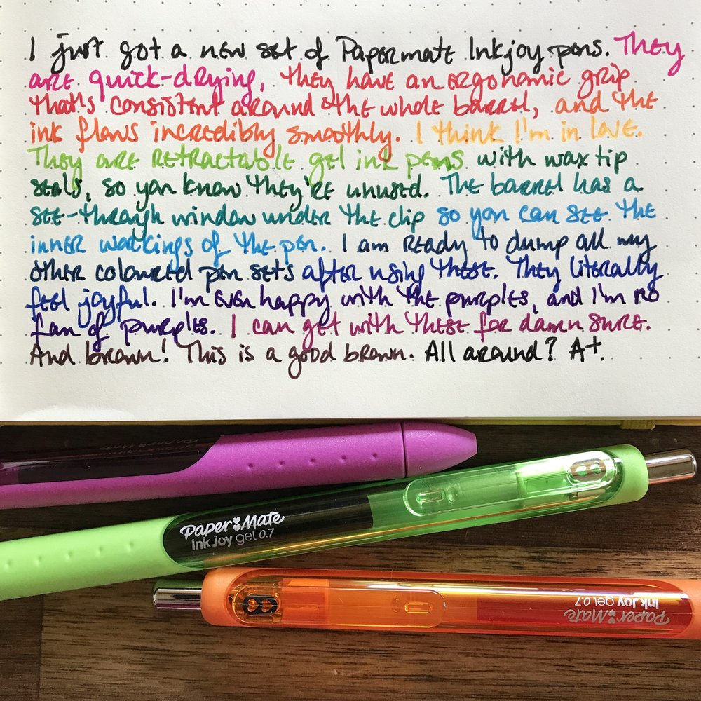 a writing sample of each of the 14 Paper Mate InkJoy gel pens
