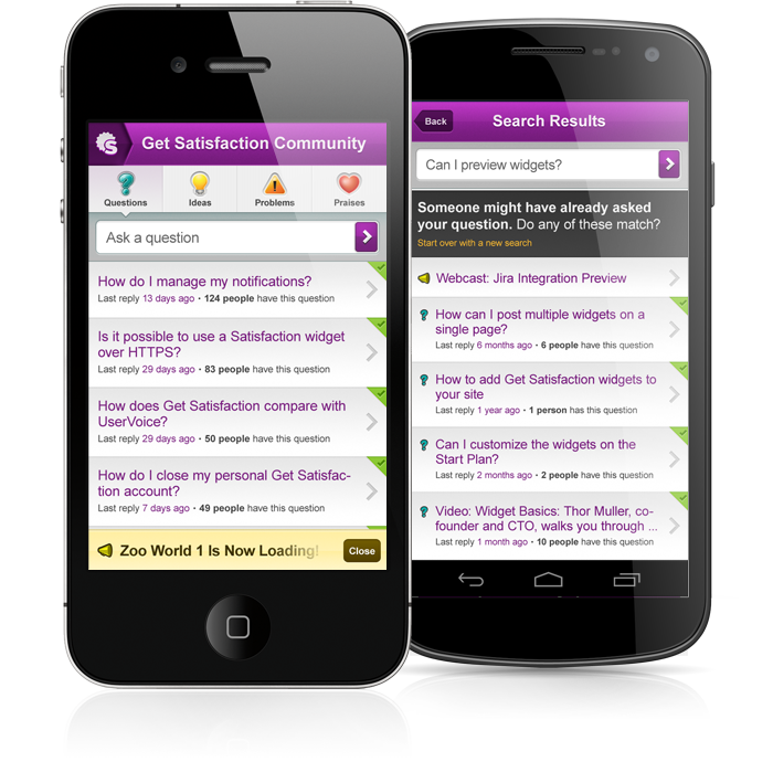 Get Satisfaction launched mobile versions of their communities in the spring of 2012.