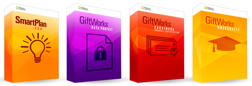 "As part of the E-Commerce project, GiftWorks needed a way to represent their software. I designed these digital ""boxes"" for all their software packages and bundles."