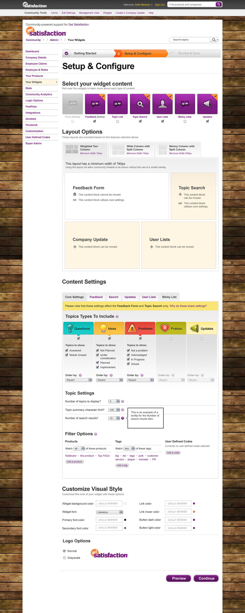 Admin widget panel for the new Get Satisfaction Engage product.