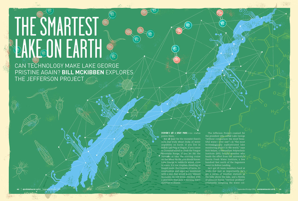Image: illustration to accompany Adirondack Life article: The Smartest Lake on Earth. Article author: Bill McKibben. Illustration by Brucie Rosch