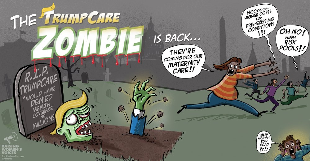 "Political cartoon on the GOP's and Trump's horrifying health care reform ""zombie"" bill. ""Why won't it stay dead??!!"""