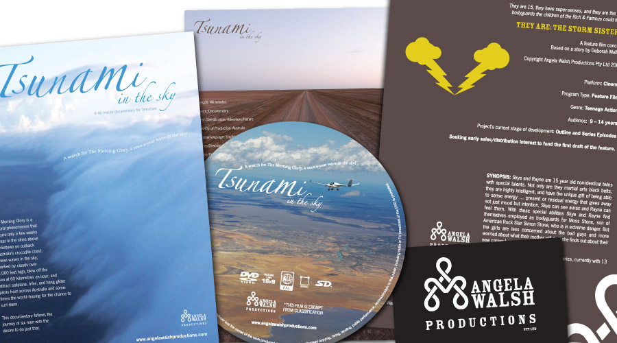 ngela Walsh Productions - collaterals created: Identity, DVD Cover / Label, Flyers, Brochures, Business Card, Posters, Website
