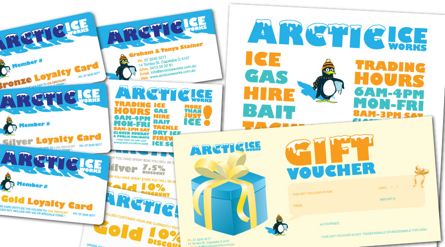 rctic Ice Works - collaterals created: Identity, Business Cards, Loyalty Cards, Pullup Banners, Magnets, Flyers, Brochures, Letterheads, Signage