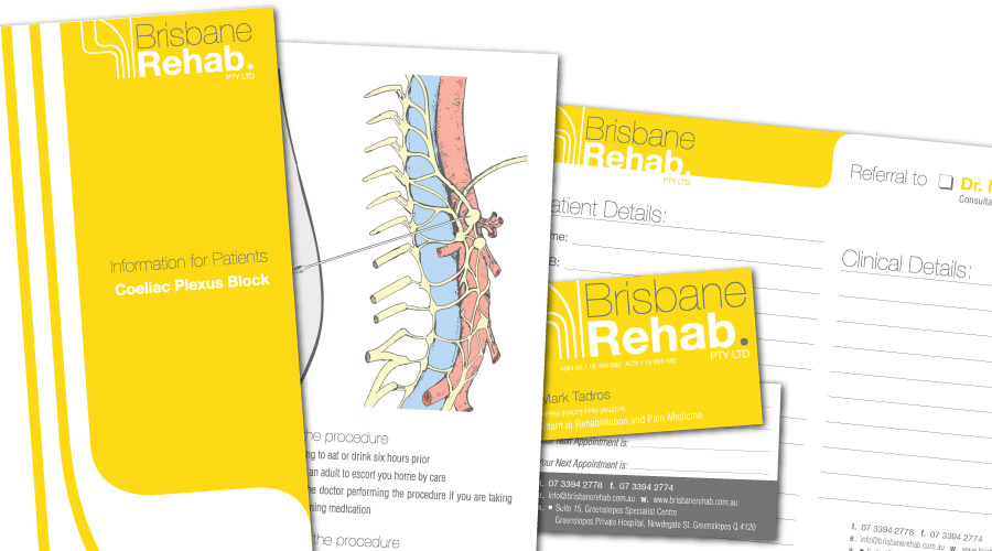 Brisbane Rehab - Collaterals Created: Identity, Graphic Design, Medical Illustration, Business Cards, Brochures, Referral Slips, Letterheads, Signage, Rubber Stamps, Stickers, Website, Facebook Page