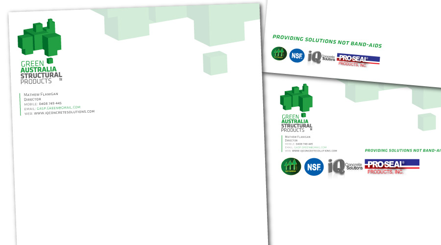 Green Australia Structural Products - Collaterals Created: Identity, Graphic Design, Letterheads, Email Signature