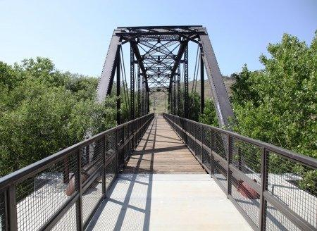REFINISHED BRIDGE WITH SAFETY RAILS