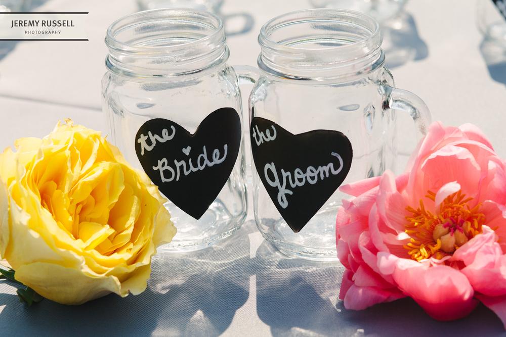 Bride and groom mason jars