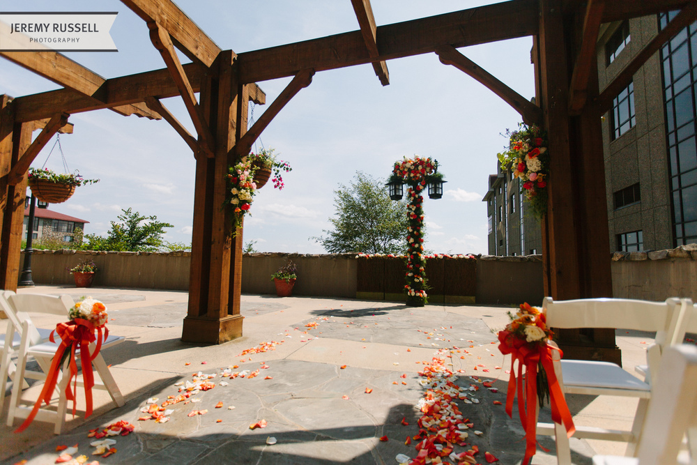 Ceremony flowers at Grove Park Inn wedding
