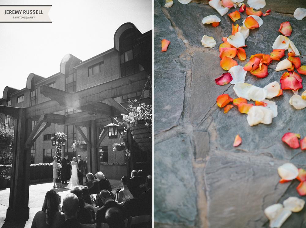Wedding ceremony at Grove Park Inn, Asheville, NC.