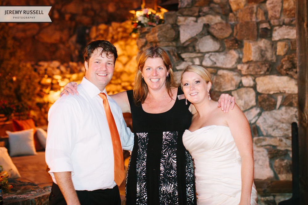 Bride and groom with Becca from Asheville Event Co