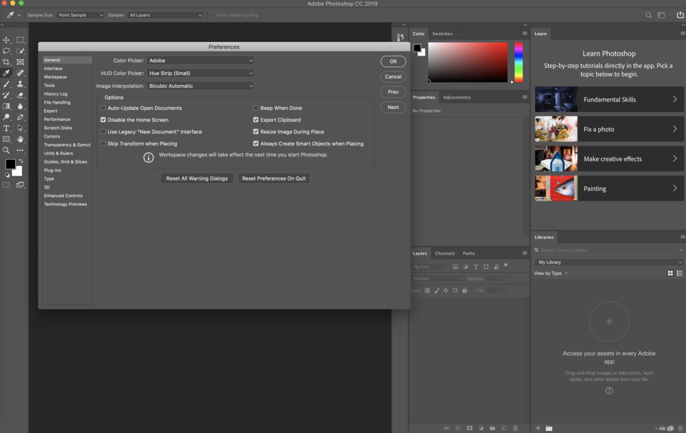 Adobe Photoshop 2019 - This is the default preferences pane and application layout. To Adobe's credit, they are featuring additional learning resources directly in the application.