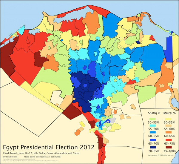Eric Schewe's map of the Egyptian presidential election results