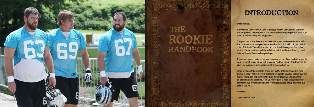 The Three Amigos and a never before seen look at the original Rookie Handbook. Check out Kalil's photoshop skills.