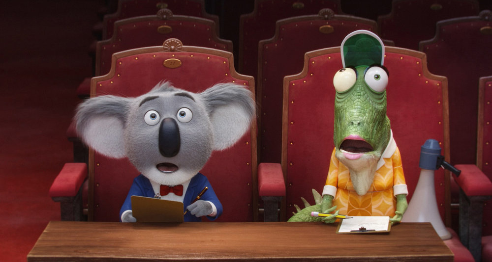 """Academy Award® winner MATTHEW MCCONAUGHEY stars as dapper koala Buster Moon and writer/director GARTH JENNINGS voices elderly lizard Miss Crawly in the event film """"Sing,"""" from Illumination Entertainment and Universal Pictures."""