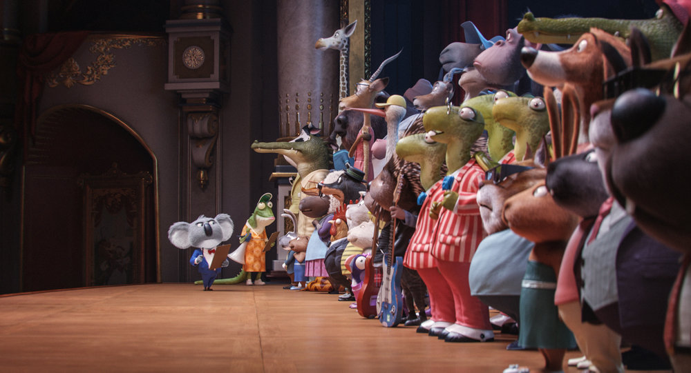 """Academy AwardÆ winner MATTHEW MCCONAUGHEY stars as dapper koala Buster Moon and writer/director GARTH JENNINGS voices elderly lizard Miss Crawly in the event film """"Sing,"""" from Illumination Entertainment and Universal Pictures."""