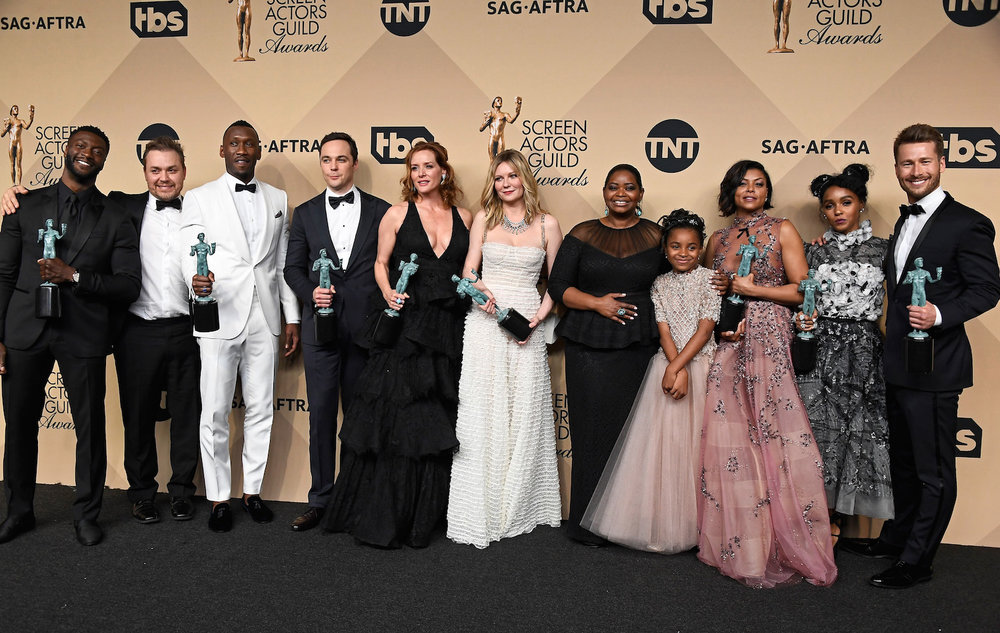 LOS ANGELES, CA - JANUARY 29:  (L-R) Actor Aldis Hodge, filmmaker Theodore Melfi, actors  Mahershala Ali, Jim Parsons, Kimberly Quinn, Kirsten Dunst, Octavia Spencer, Saniyya Sidney, Taraji P. Henson, Janelle Monae, and Glen Powell, co-recipients of the Outstanding Performance by a Cast in a Motion Picture award for 'Hidden Figures,' pose in the press room during The 23rd Annual Screen Actors Guild Awards at The Shrine Auditorium on January 29, 2017 in Los Angeles, California. 26592_008  (Photo by Frazer Harrison/Getty Images) *** Local Caption *** Aldis Hodge;Theodore Melfi;Mahershala Ali;Jim Parsons;Kimberly Quinn;Kirsten Dunst;Octavia Spencer;Saniyya Sidney Taraji P. Henson;Janelle Monae;Glen Powell