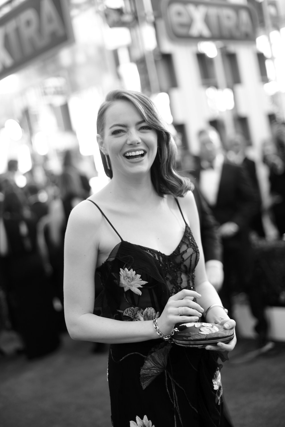 LOS ANGELES, CA - JANUARY 29:  (EDITORS NOTE: Image has been shot in black and white. Color version not available.)    Actor Emma Stone  attends The 23rd Annual Screen Actors Guild Awards at The Shrine Auditorium on January 29, 2017 in Los Angeles, California. 26592_010  (Photo by Charley Gallay/Getty Images for TNT) *** Local Caption *** Emma Stone