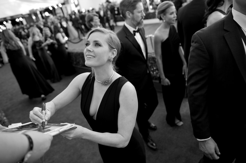 LOS ANGELES, CA - JANUARY 29:  (EDITORS NOTE: Image has been shot in black and white. Color version not available.)   Actor Amy Adams attends The 23rd Annual Screen Actors Guild Awards at The Shrine Auditorium on January 29, 2017 in Los Angeles, California. 26592_010  (Photo by Charley Gallay/Getty Images for TNT) *** Local Caption *** Amy Adams