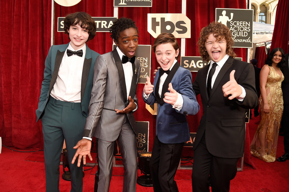 LOS ANGELES, CA - JANUARY 29:  (L-R) Actors Finn Wolfhard, Caleb McLaughlin, Noah Schnapp, and Gaten Matarazzo attend The 23rd Annual Screen Actors Guild Awards at The Shrine Auditorium on January 29, 2017 in Los Angeles, California. 26592_011  (Photo by Kevin Mazur/Getty Images for TNT) *** Local Caption *** Finn Wolfhard;Caleb McLaughlin;Noah Schnapp;Gaten Matarazzo