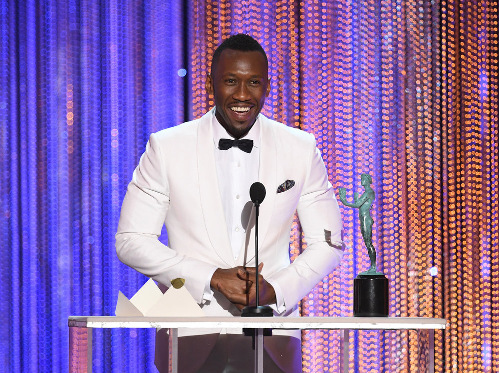 LOS ANGELES, CA - JANUARY 29:  Actor Mahershala Ali accepts Outstanding Performance by a Male Actor in a Supporting Role for 'Moonlight' onstage during The 23rd Annual Screen Actors Guild Awards at The Shrine Auditorium on January 29, 2017 in Los Angeles, California. 26592_014  (Photo by Kevin Winter/Getty Images ) *** Local Caption *** Mahershala Ali