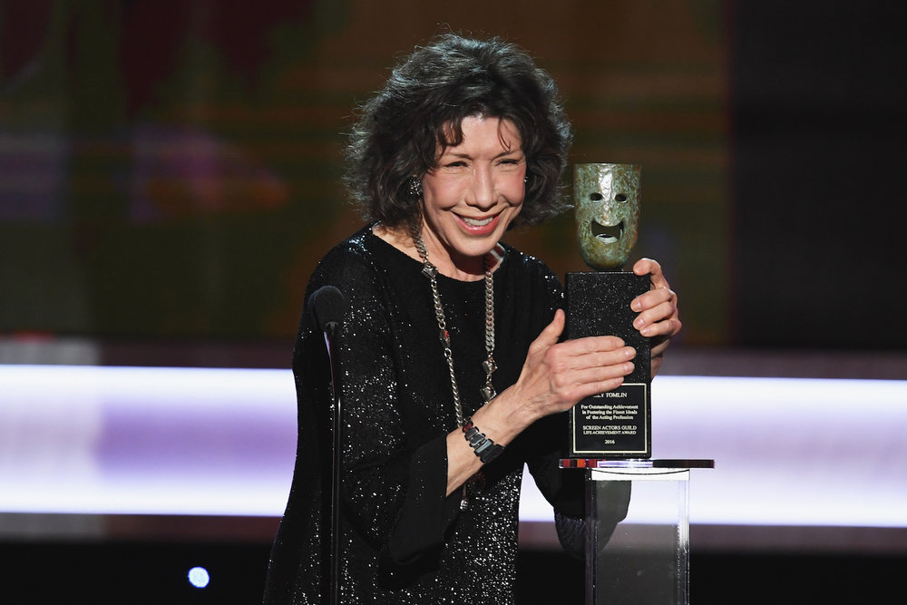 LOS ANGELES, CA - JANUARY 29:  Actor Lily Tomlin accepts the 2016 SAG Life Achievement Award onstage during The 23rd Annual Screen Actors Guild Awards at The Shrine Auditorium on January 29, 2017 in Los Angeles, California. 26592_014  (Photo by Kevin Winter/Getty Images ) *** Local Caption *** Lily Tomlin