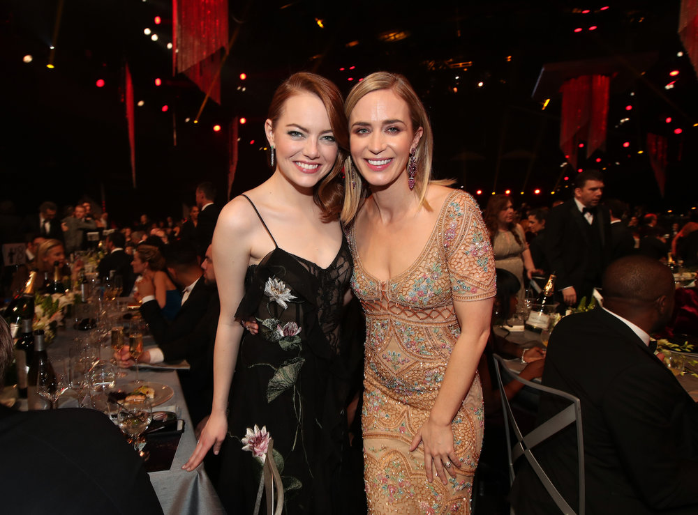 LOS ANGELES, CA - JANUARY 29:  Actors Emma Stone and Emily Blunt during The 23rd Annual Screen Actors Guild Awards at The Shrine Auditorium on January 29, 2017 in Los Angeles, California. 26592_012  (Photo by Christopher Polk/Getty Images for TNT) *** Local Caption *** Emma Stone;Emily Blunt