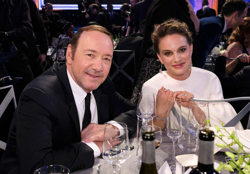 LOS ANGELES, CA - JANUARY 29:  Actors Kevin Spacey (L) and Natalie Portman pose during The 23rd Annual Screen Actors Guild Awards at The Shrine Auditorium on January 29, 2017 in Los Angeles, California. 26592_009  (Photo by Dimitrios Kambouris/Getty Images for TNT) *** Local Caption *** Kevin Spacey;Natalie Portman
