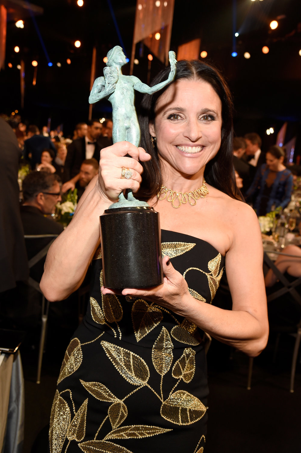 LOS ANGELES, CA - JANUARY 29:  Actor Julia Louis-Dreyfus poses with the Outstanding Performance by a Female Actor in a Comedy Series award for 'Veep' during The 23rd Annual Screen Actors Guild Awards at The Shrine Auditorium on January 29, 2017 in Los Angeles, California. 26592_011  (Photo by Kevin Mazur/Getty Images for TNT) *** Local Caption *** Julia Louis-Dreyfus