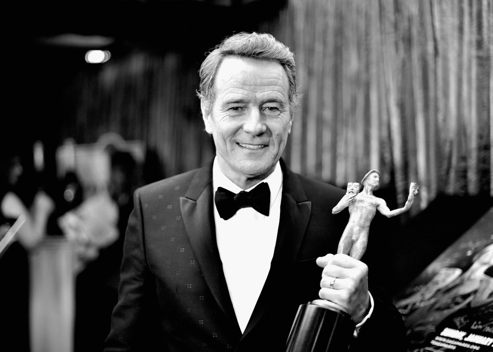 LOS ANGELES, CA - JANUARY 29:  (EDITORS NOTE: Image has been shot in black and white. Color version not available.) Actor Bryan Cranston, winner of the Outstanding Performance by a Male Actor in a Miniseries or Television Movie award for 'All the Way,' poses in the press room during The 23rd Annual Screen Actors Guild Awards at The Shrine Auditorium on January 29, 2017 in Los Angeles, California. 26592_011  (Photo by Stefanie Keenan/Getty Images for TNT) *** Local Caption *** Bryan Cranston