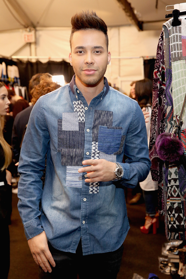 Prince Royce poses backstage before the Desigual fashion show during, New York Fashion Week: The Shows  at Gallery 1, Skylight Clarkson Sq on February 9, 2017 in New York City.