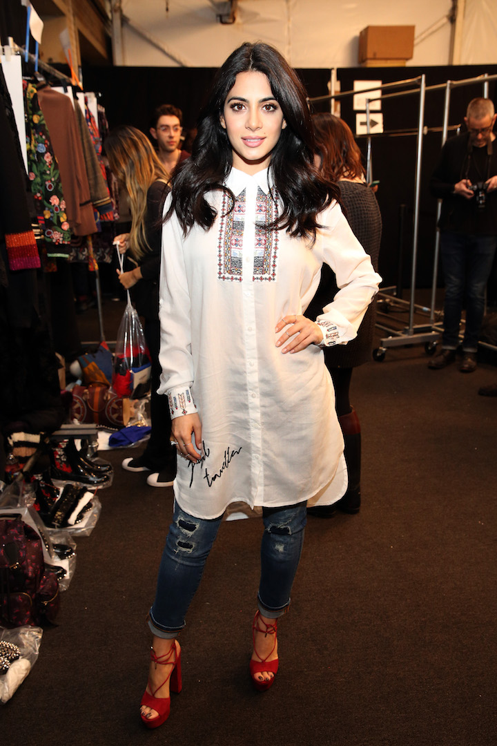 Emeraude Toubia poses backstage before the Desigual fashion show during, New York Fashion Week: The Shows  at Gallery 1, Skylight Clarkson Sq on February 9, 2017 in New York City.