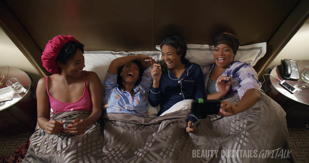 "In ""Girls Trip,"" when four lifelong friends—(L to R) Dina (TIFFANY HADDISH), Lisa (JADA PINKETT SMITH), Ryan (REGINA HALL) and Sasha (QUEEN LATIFAH)—travel to New Orleans for the annual ""Essence"" Festival, sisterhoods are rekindled, wild sides are rediscovered, and there's enough dancing, drinking, brawling and romancing to make the Big Easy blush."
