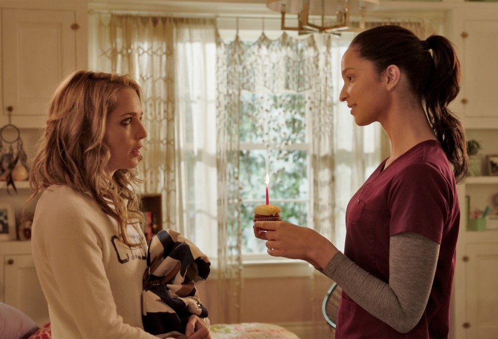 "(L to R) JESSICA ROTHE as Tree and RUBY MODINE as Lori in ""Happy Death Day.""  Blumhouse (""Split,"" ""Get Out,"" ""Whiplash"") produces this original and inventive rewinding thriller in which a college student (Rothe, ""La La Land"") relives the day of her murder—with both its unexceptional details and terrifying end—until she discovers her killer's identity."