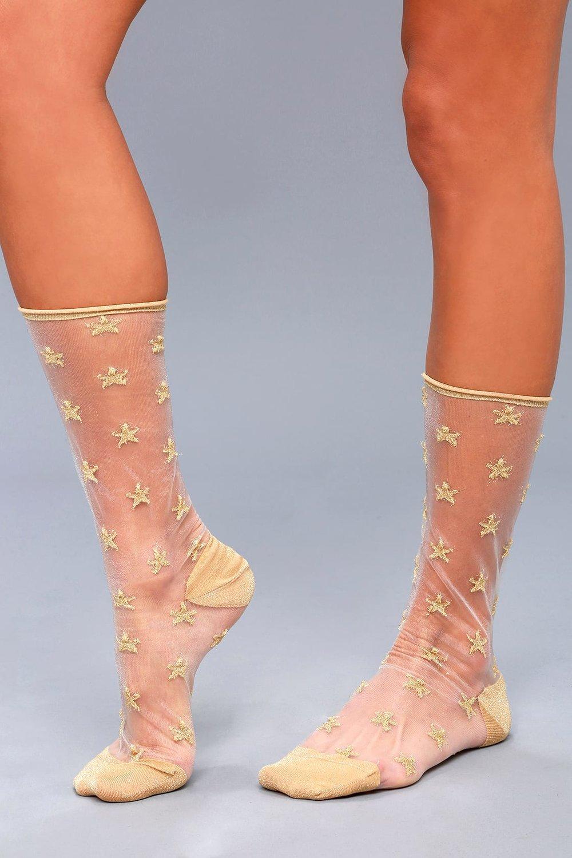 Twinkle Toes Goldand White StarPrint Mesh Socks - Tabbisocks